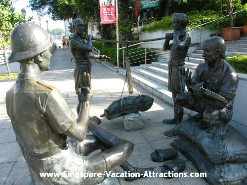 Coolies and Merchants sculpture, tells little history of the Singapore River