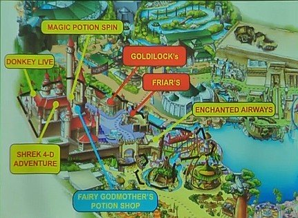 Far Far Away map, Universal Studios Singapore showing the main attraction and various Dining and shopping options