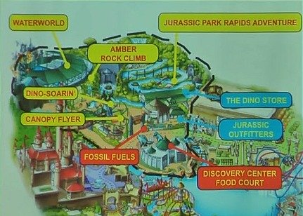 The Lost World map, Universal Studios Singapore showing the main attraction and various dining and shopping options